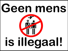 spandoek 'Geen mens is illegaal'